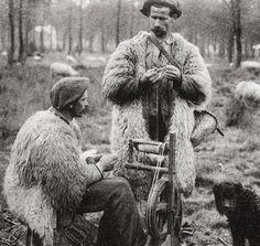 Shepherds Spinning Wool, Landes, France, C. 1900-1920