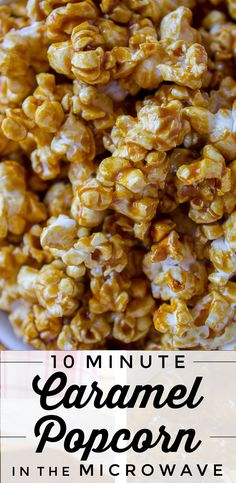 10-Minute Caramel Popcorn in the Microwave by The Food Charlatan. This super easy recipe for Caramel Popcorn takes 10 MINUTES start to finish! You make it in a brown paper bag in the microwave. It is SO crunchy and flavorful! And you don't have to stir a giant pan in the oven for an hour. WIN. #caramel #popcorn #caramelcorn #microwave #easy #dessert #treat #fast #sweets