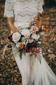 a boho fall wedding bouquet of white, pink and red blooms, deep purple ones, dried leaves and green ones - Weddingomania Bridal Bouquet Fall, Fall Wedding Bouquets, Fall Wedding Flowers, Wedding Flower Arrangements, Bride Bouquets, Floral Wedding, Wedding Colors, Bohemian Wedding Flowers, Bohemian Chic Weddings