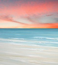 Beach Cottage decor, Coastal cottage decor, Ocean wave wall art, beach pictures, Beach art painting print by Francine Bradette-FREE S&H