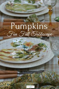 Pumpkin Patch plates by Pier 1 suit this warm and inviting Halloween table. Halloween Table, Fall Halloween, Diy Centerpieces, Centrepieces, Fall Vignettes, Different Types Of Flowers, Make A Table, Thanksgiving Tablescapes, China Plates