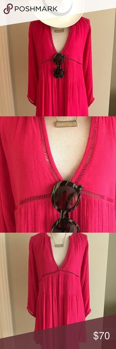 NWT Free People Hot Pink Dress Fabulous fuchsia dress from Free People, new with tags! Great as a breezy summer dress or fun swim coverup. 3/4 length sleeves, v-neck and detailing. Accessories not included, but many are available for sale in my Posh closet (necklace, Prada sunglasses, Steve Madden cork wedges)! Free People Dresses Long Sleeve