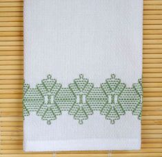 Tea Towel Dish Towel Swedish Weaving in Green by SnowboundMe