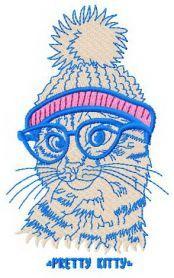 Pretty kitty machine embroidery design. Machine embroidery design. www.embroideres.com