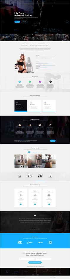 Owen is a universal #PSD template for yoga #trainer, personal #crossfit trainer, bodybuilding trainer and other sport related niche websites download now➩ https://themeforest.net/item/owen-personal-trainer-landing-page-psd-template/17377445?ref=Datasata