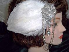 Gorgeous 20's 30's Inspired White Feather Hair Clip Art Noveau Rhinestone Embellishment  Bridal Flapper Gatsby  1920's 1930's