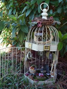 birdhouse fairy house! I must do this with that never-used-again card holder birdhouse from my wedding!