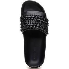 KENDALL + KYLIE Shiloh Black Leather Pool Slide (€83) ❤ liked on Polyvore featuring shoes, black leather shoes, kendall kylie shoes, black rubber sole shoes, kohl shoes and real leather shoes