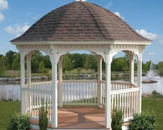 A vinyl gazebo will look wonderful in any backyard, patio, or pool area. Our vinyl gazebos come in many sizes and with many options. A vinyl gazebo will never need to be re-painted or re-stained like a wood gazebo. Our gazebos are engineered to withstand strong winds and heavy snow loads. In fact, the craftsmanship and materials are backed by a ten year limited warranty.
