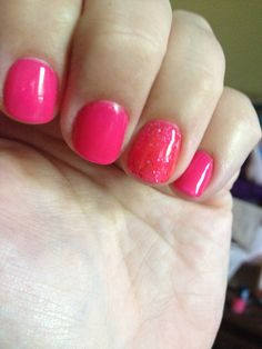 Daisy soak off gel polish in hot hot Hollie & pink crystal on the accent nail