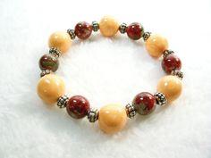 Orange, Red and Gray Stretch Bracelet