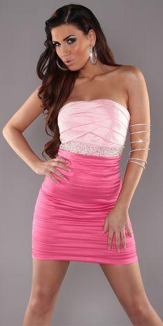 Vestido de fiesta corto rosa y fucsia