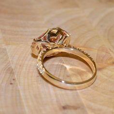 Pink Spinel and Diamond Ring 18k Yellow Gold by JdotC on Etsy, $850.00