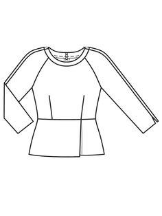 Блузка с баской - выкройка № 110 из журнала 7/2017 Burda – выкройки блузок на Burdastyle.ru