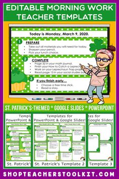 These St. Patrick's Day-themed Editable PowerPoint and Google Slides Teacher Templates include space to type the day and date, reminders of what to do when entering the classroom, as well as 'must do' and 'may do' assignments. Remind your students of their morning assignments during arrival time by displaying them on your whiteboard or SMARTBoard. #teachertemplates #morningarrivalinstructions #editable #powerpoint #googleslides #saintpatricksday