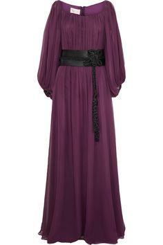 Notte by Marchesa Contrast belt-detail silk-chiffon gown