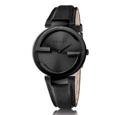 New-Gucci-Interlocking-YA133302-Black-PVD-37mm-Leather-Strap-Watch