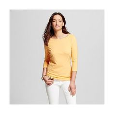 Women's / Sleeve Boatneck Tee Mango Fizz  - Merona ($12) ❤ liked on Polyvore featuring tops, t-shirts, mango fizz, slim fit shirt, sleeve shirt, slim fit tee, boatneck shirt and boat neck tee