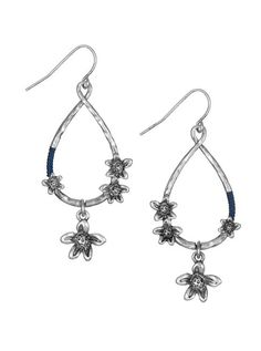 Our favorite drop earrings have been dressed up with floral detailing and our signature blue string.