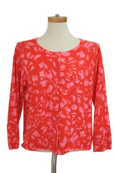 CAbi  Cabi Pink Red Abstract Print Rockabilly Swing Button Cardigan Sweater 299 Xl Size XL