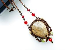 Jasper and Agate Gemstone Necklace, Long Beaded Mecklace, Agate Necklace by ThezoraArtBijoux
