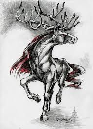 Hippocervus- medieval legend: a beast that had the foreparts of a stag and the rear parts of a horse. It symbolized indecision.