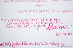 Monday Matchup #19: Kaweco ICE Sport in Pink with Fine nib paired with Rohrer & Klingner Fernambuk ink. Art by Sarah M. Writing by Alex R.