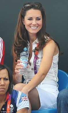 Kate, Duchess of Cambridge watching women's field hockey during London Olympics. August 10, 2012.