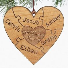 "This engraved wood heart puzzle ornament is beautiful! LOVE the heart puzzle piece design! You can add every family member's name and the middle says ""Together we make a family"" - great ornament for blended families too! Noel Christmas, Homemade Christmas, Diy Christmas Gifts, Christmas Projects, Winter Christmas, All Things Christmas, Christmas Decorations, Christmas Ornaments, Christmas Ideas"