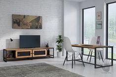 Szafka RTV APRIL-industrialna komoda z metalu i drewna Tv Cabinets, Wood Design, Minimalist Design, Flat Screen, Metal, Interior, Room, Furniture, Bedroom Closets