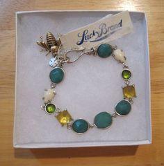 Lucky Brand~Antiqued Silver~Bees Knees Charm~Blue Green Stone Bracelet~JLRU9948 #LuckyBrand #Chain