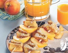 """French toast and peach kabobs, serve with powdered sugar and syrup (from Janna Devore's book """"Kabobs for Kids"""")"""