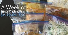 7 cheap crockpot freezer meals for busy weeks. Just make ahead and freeze to take care of dinner all week...and the best part? It's all under $50!