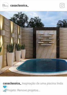 Parede quero dessa cor c a piscina na beira do muro Wall I want this color and the pool at the edge Small Swimming Pools, Small Backyard Pools, Backyard Pool Designs, Small Pools, Swimming Pools Backyard, Swimming Pool Designs, Backyard Patio, Small Backyards, Small Patio