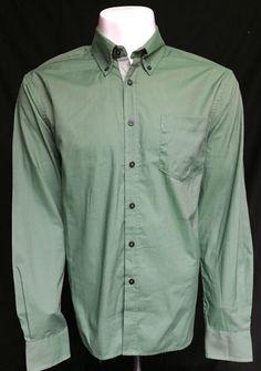 Haggar Green Medium Long Sleeve Button Front Shirt New With Tags $55 Retail #Haggar