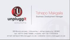 """Classic design with a futuristic """"u"""" is featured on the card from unpluggit solutions of Johannesburg"""