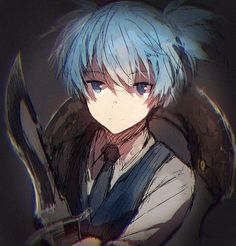 Nagisa Shiota from the horror fantasy Manga Anime, Anime Guys, Anime Art, Blue Hair Anime Boy, Iida, Koro Sensei, Nagisa And Karma, Nagisa Shiota, Strip