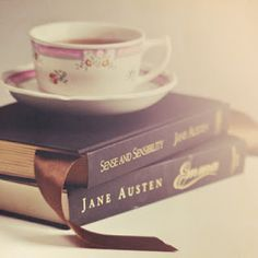 Risultati immagini per jane austen books and cup of coffee