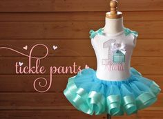 Blue Gift Box Birthday Tutu Outfit- Includes embroidered top and ruffled tutu-  aqua blue- Available in your choice of color(s)