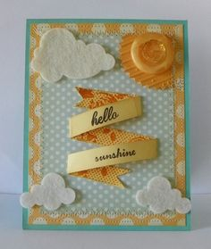 Hello Sunshine Card Yellow Clouds Sun Button by brandywine on Etsy