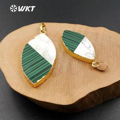 WT-P1152 Malachite pendant white turquoise pendant olive shape