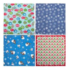 These holiday print bandanas are great for accessorizing your outfit or decorating your house. There are numerous DIY craft ideas that would be perfect for adding some fun holiday touches to your house. Some crafty ideas include making a table runner, napkins, table cloth, place mats, pillows, and so much more.