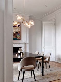 Dining room with a beautiful light