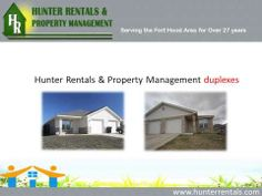 Hunter Rentals & Property Management provides quality rental services for houses, duplexes, apartments and town homes in Killeen, Texas. The services include property protection, maintenance, accounting services, etc. For more information, visit : http://www.hunterrentals.com