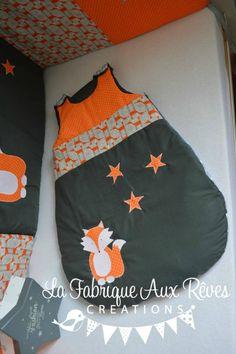 gigoteuse turbulette renard étoiles orange gris - décoration chambre bébé renard étoiles forêt orange gris