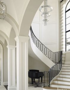 15 Jaw-Dropping Statement Chandeliers   Luxe Interiors + Design Fine Art Lamps White Staircase, Staircase Railings, Stairways, Banisters, Contemporary Interior Design, Interior Design Kitchen, Interior Paint, Luxury Interior, Casa Sexy