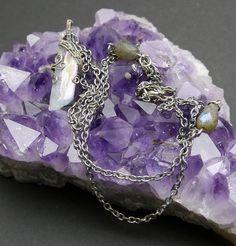 Blue Wire wrapped Crystal Blue Quartz Necklace by AkashaBodyArt