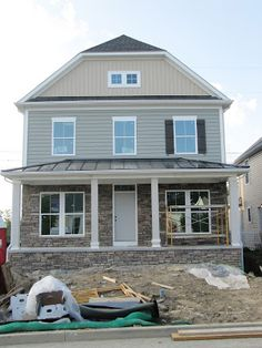 Day 67 More Stone Gutters And Drywall Cottage Exterior Exterior Siding House Styles