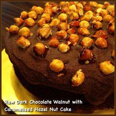 Irish Raw Dark Chocolate Walnut cake with caramelised Hazel Nut