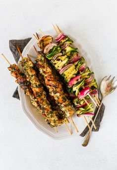 This recipe for herbed chicken skewers is easy to whip up and perfect for making ahead. Healthy and packed with fresh flavors, these skewers are delicious! Summer Dinner Party Menu, Casual Dinner Parties, Summer Menu Ideas, Dinner Ideas, Summer Recipes, Healthy Dinner Recipes, Party Recipes, Delicious Recipes, Diet Recipes